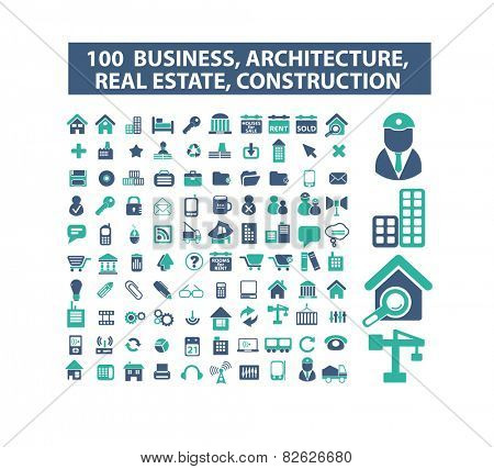 100 business, real estate, architercture, construction, development flat isolated icons, signs, illustrations vector set on background