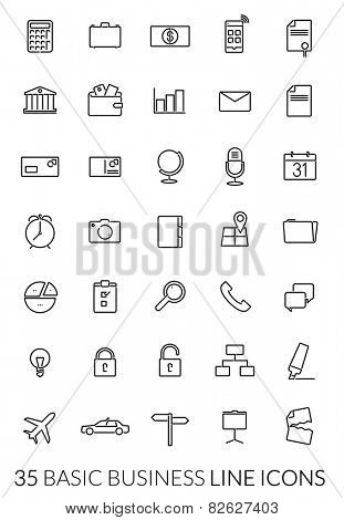 Business Line Icon Vector Set. Collection of 35 basic business black line icons on white background