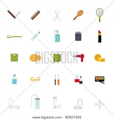 Flat Design Bath and Beauty Vector Icons Collection. Set of 25 bath and beauty related flat design icons isolated on white background