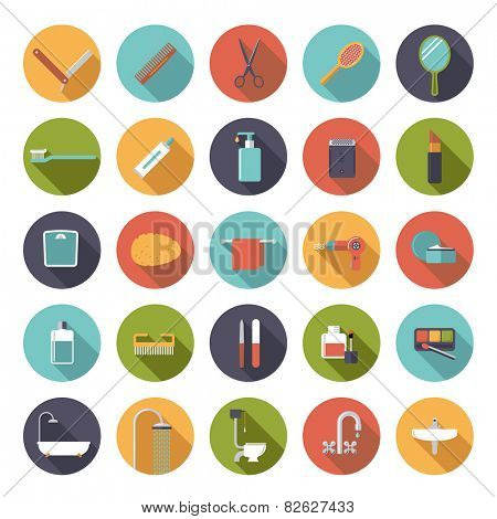 Flat Design Bath and Beauty Vector Icons Collection. Set of 25 bath and beauty related icons in circles, flat design, long shadow