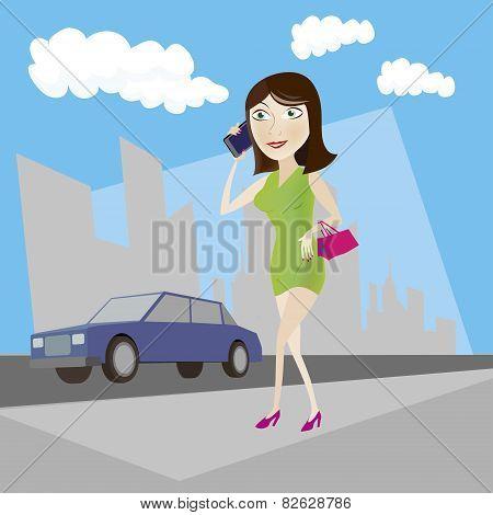 Woman On City