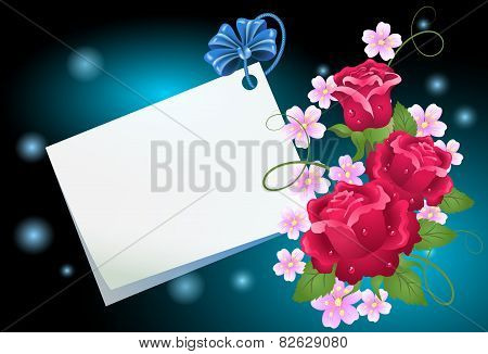 Floral Background With Paper