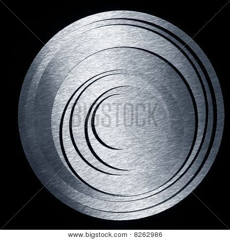 Metal Concentric Circles On A Black Background