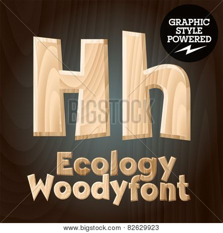 Vector font set of wood ecology font. Letter H