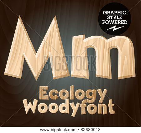 Vector font set of wood ecology font. Letter M