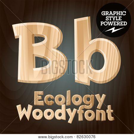 Vector font set of wood ecology font. Letter B