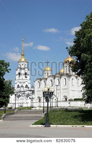 Dormition cathedral and bell tower in Vladimir