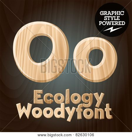 Vector font set of wood ecology font. Letter O