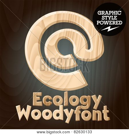 Vector font set of wood ecology font. Symbols 1