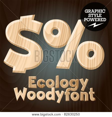 Vector font set of wood ecology font. Symbols 2