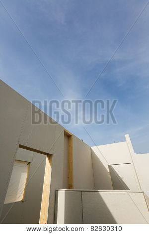 Prefabricated Roofless House In The Making