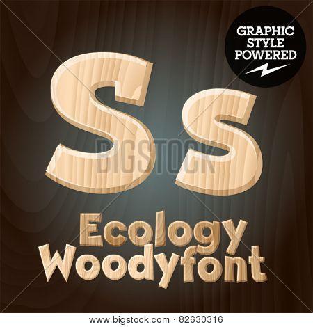 Vector font set of wood ecology font. Letter S