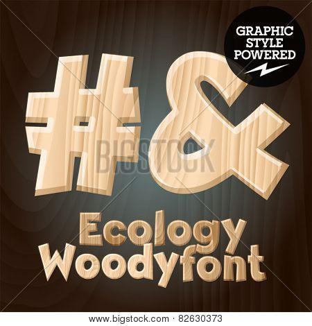 Vector font set of wood ecology font. Symbols 3