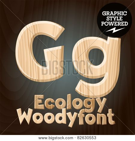 Vector font set of wood ecology font. Letter G
