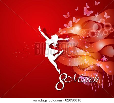 Women's Day Greeting Card. Beautiful young woman with flowers