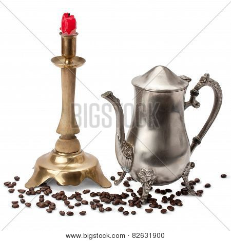 Candelabra, Candle, Coffee Pot