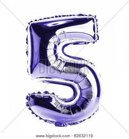 Purple Chrome balloon font part of full set of numbers, number five, 5