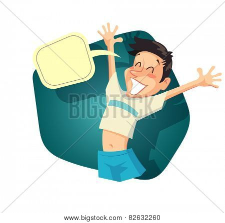 Glad boy with speech bubble. Vintage style illustration. Eps10 vector illustration. Isolated on white background
