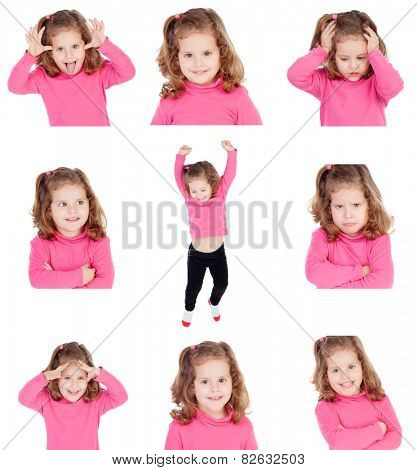 Sequence of images of a pretty girl with different gestures isolated on white background