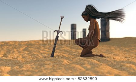 mystery girl in desert on ruins background with sword