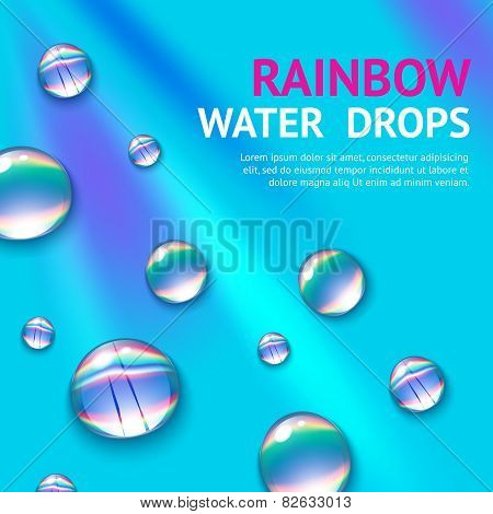 Water Drops With Rainbow