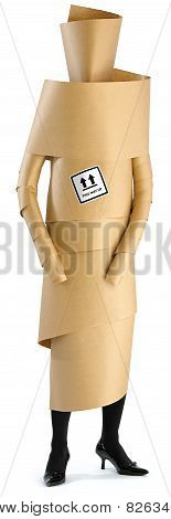 Woman, Girl Wrapped Up In Brown Paper