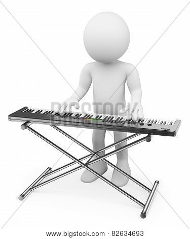 3D White People. Musician Playing Keyboard. Piano