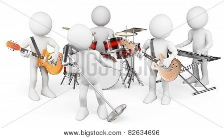 3D White People. Music Group Playing Live