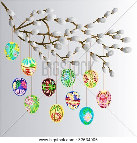 Pussy Willow Branch And Easter Eggs Vector