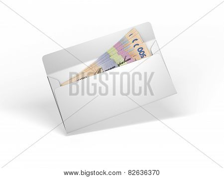 White envelope with ukrainian money