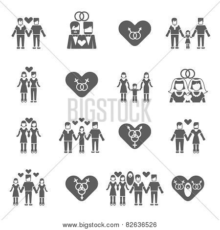 Non-traditional family icons set black