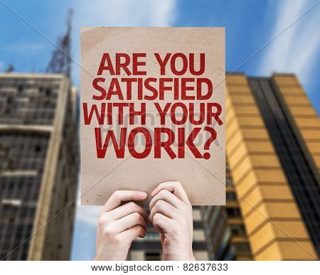 Are You Satisfied With Your Work? card with a urban background