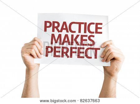 Practice Makes Perfect card isolated on white background