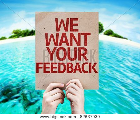 We Want Your Feedback card with beach background