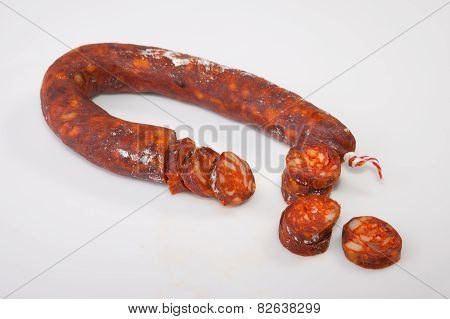 Red iberian chorizo with some cut pieces