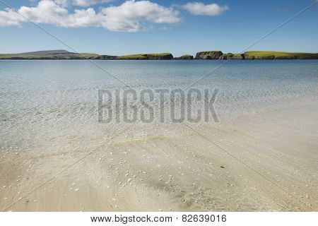 Scottish Landscape With Beach In Shetland. Scotland. Uk