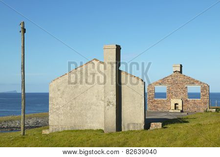 Scottish Landscape With Abandoned House In Shetland. Scotland