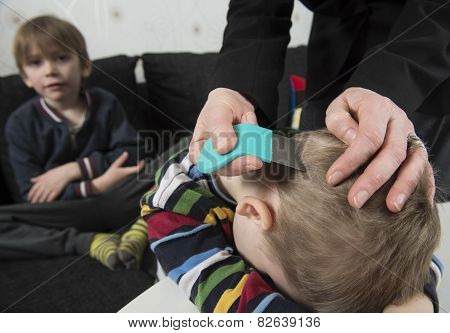 Youngsters Getting Head Inspected For Lice