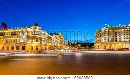 Baku - MAY 30, 2014: Azneft Square on May 30 in Baku, Azerbaijan. Azneft Square is one of the largest squares in Baku
