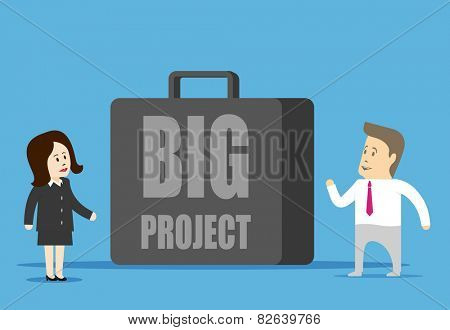 Big project. Characters businessman looking at a huge case. Conceptual image.