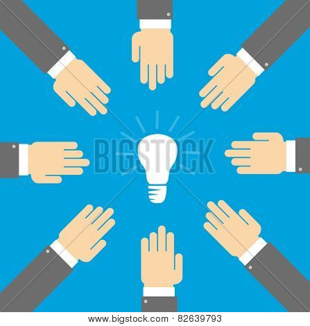 Idea hunters. Hands are drawn to the light bulb