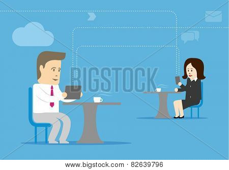 Characters man and woman sitting at a table and enjoy mobile internet