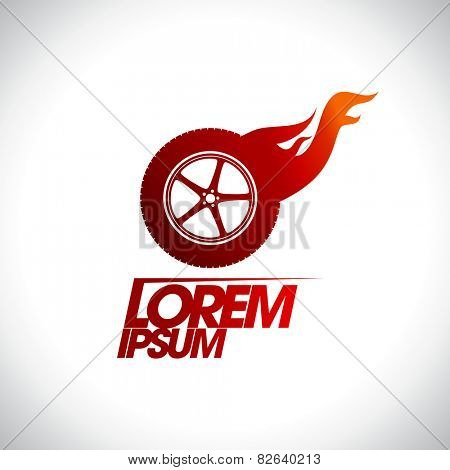 Red hot wheel logo template.