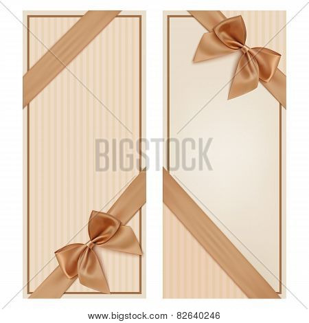 Invitation Card .Vintage greeting card template with golden bow and ribbon