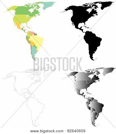 North and South America vector maps