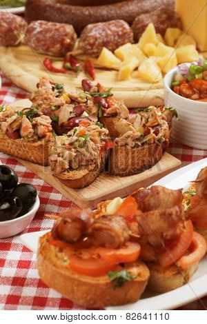 Tapas or antipasto food, mediterranean cold buffet great for parties