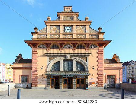 PILSEN CZECH REPUBLIC - FEBRUARY 6, 2015: Rare neorenaissance  building of south suburb railway station in Pilsen built in 1921 architect R. Burian.