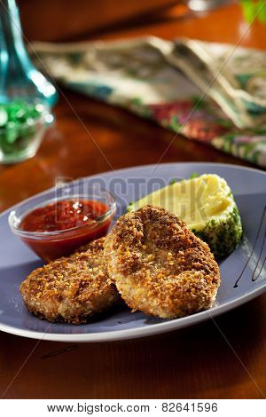 Schnitzel Served with Mashed Potato
