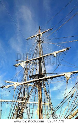 Tall ship rigging.
