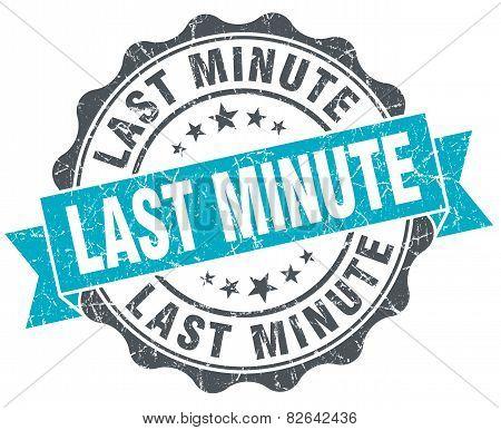 Last Minute Vintage Turquoise Seal Isolated On White